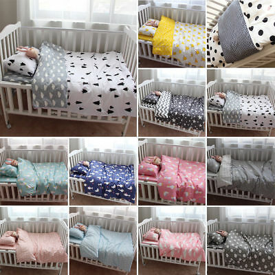 3Pcs Soft Cotton Baby Bedding Set Crib Nursery Bed Sheet Quilt Cover Pillowcase