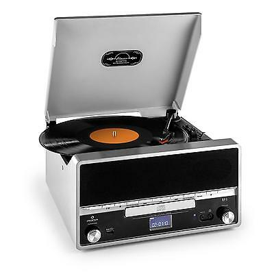Auna Rtt-1922 Silver Classic Turntable Dj Record Player 33 45 Cd Usb Mp3 Speaker