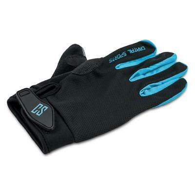 Large Leatherette Sport Gloves Blue Training Workout Gym Breathable Stretch Mesh