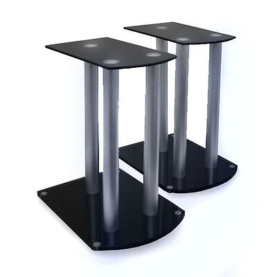 Stable Hifi Satellite Speaker Stands Safety Glass Legs