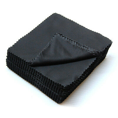 10 x Black Microfibre Cloths Pack High Quality Soft Cloths Glasses Phone Wipes