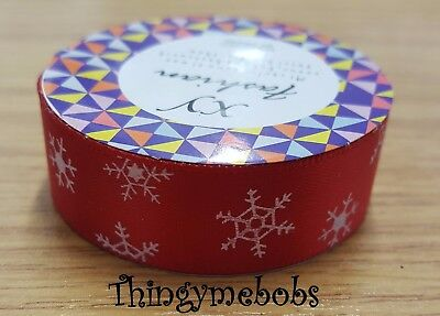 1m x 16mm RED CHRISTMAS SNOWFLAKE WASHI/MASKING TAPE - CARD MAKING/CRAFTS