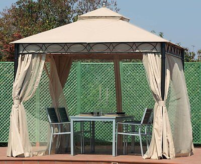 Gazebo 3X3 Juno In Metal With Mosquito Nets E Curtains Waterproof Verdemax