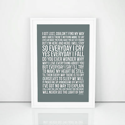 Phil Collins Everyday Lyrics Poster Print Song Artwork Memorabilia