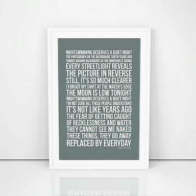 R.E.M. Nightswimming Lyrics Poster Print Song Artwork Memorabilia