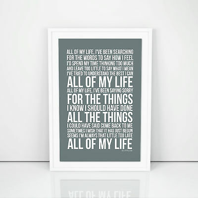 Phil Collins All Of My Life Lyrics Poster Print Song Artwork Typography
