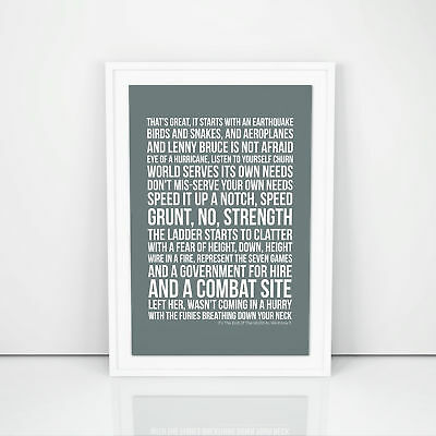 R.E.M. It's The End Of The World As We Know It Lyrics Poster Print Song Artwork