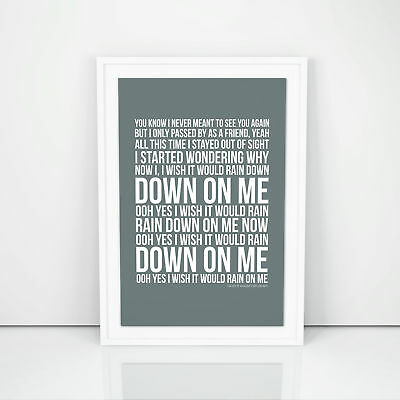Phil Collins I Wish It Would Rain Down Lyrics Poster Print Song Artwork
