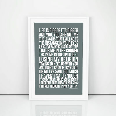 R.E.M. Losing My Religion Lyrics Poster Print Song Artwork Memorabilia