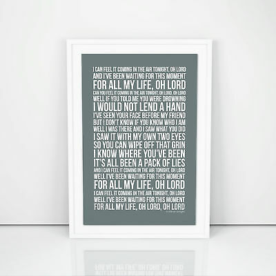 Phil Collins In The Air Tonight Lyrics Poster Print Song Artwork Typography