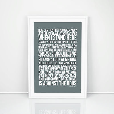 Phil Collins Against All Odds Lyrics Poster Print Song Artwork Typography