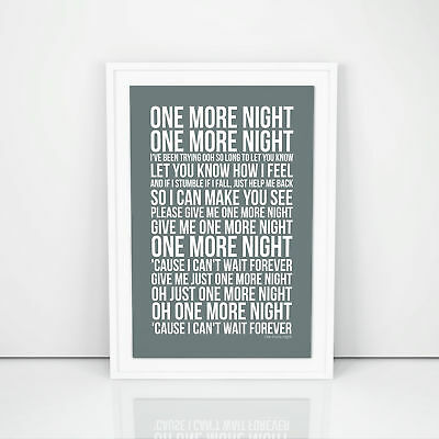 Phil Collins One More Night Lyrics Poster Print Song Artwork Typography
