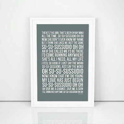 Phil Collins Sussudio Lyrics Poster Print Song Artwork Typography