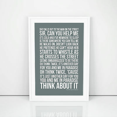 Phil Collins Another Day In Paradise Lyrics Poster Print Song Artwork Typography