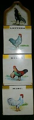 Vintage Letter/Bill/ Misc Tin Holder Wall Hanging Rooster & Hen