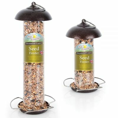 Harrisons Modern Hammered Copper/Silver Wild Bird Seed/Peanut/Suet Pellet Feeder