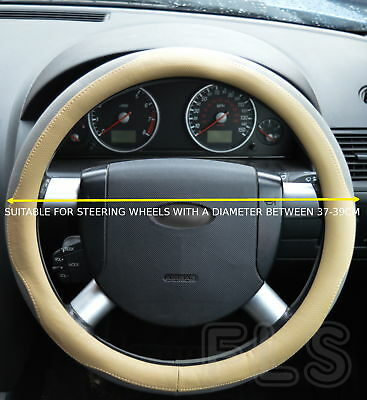 Universal Faux Leather Beige/grey Steering Wheel Cover Jd005-Bgegry  Vlv1