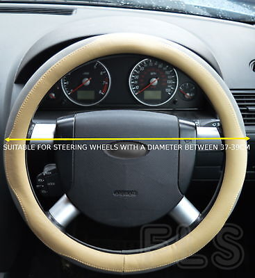 Universal Faux Leather Beige/grey Steering Wheel Cover Jd005-Bgegry  Tyt4