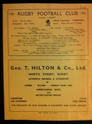Rugby v Coventry 1952 Rugby Programme