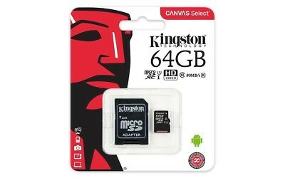 Micro Sd Card 64Gb Kingston Uhs-I Classe 10 Con Adattatore Sd 80 Mb/s Corriere