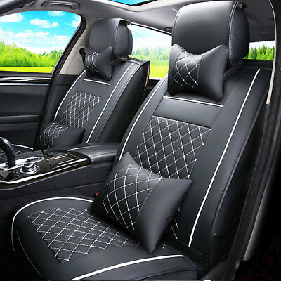 UK Universal 7Pcs Black Car 5 Seat Cover Front + Rear Cushion Pad w/ Pillow Set