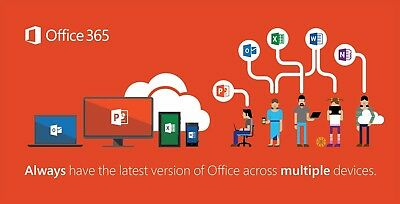 NEW Microsoft Office 365 Lifetime Account Subscription 5 Users PC Mac Mobile