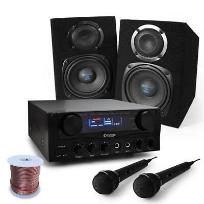 BASIC SPEAKERS + AMPLIFIER PACKAGE DISCO PARTY 40w RMS DJ PA SYSTEM CABLE SET