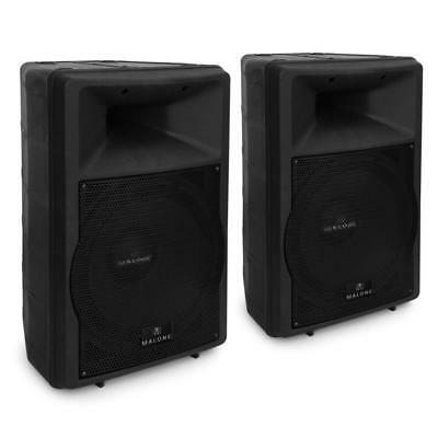"""15"""" Powered Dj Pa Speaker Pair With Equalizers 1500W Abs Indoor Outdoor Monitor"""