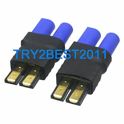 2pcs TRX Traxxas Male Plug to EC5 Female Jack No Wires Adapter