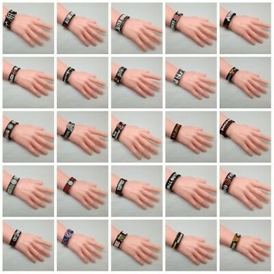 Wristband Rubber Silicon Bracelet Cuff Rock Band Music Heavy Metal Punk Logo DIY