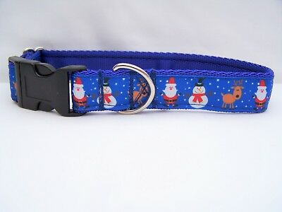 Christmas dog collar gift blue santas and snowmen for small, medium & large dogs