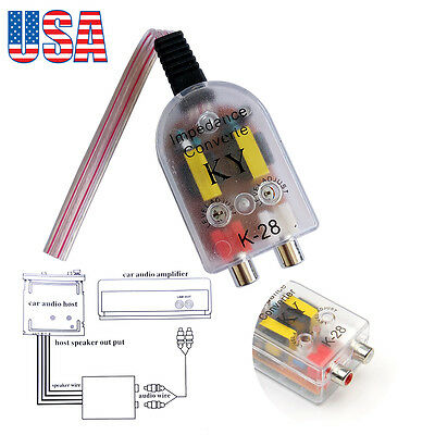 CAR STEREO Speaker Wire Input to RCA Output Line Level Converter ...