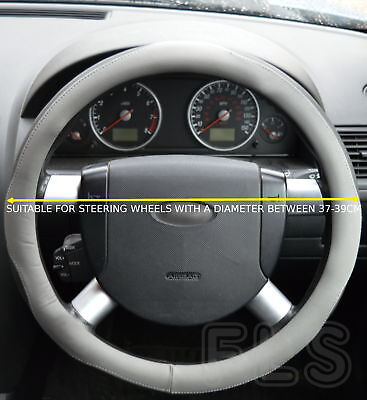Universal Faux Leather Black/grey Steering Wheel Cover Jd005-Gryblk  Vow3