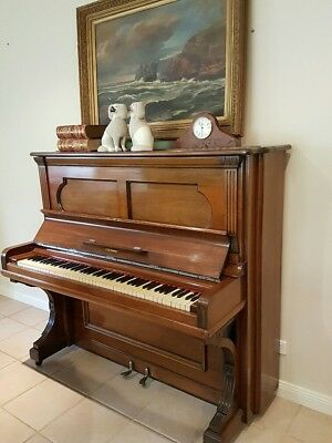 Steinway & Sons Upright Grand Piano Hamburg Build c1882 Antique