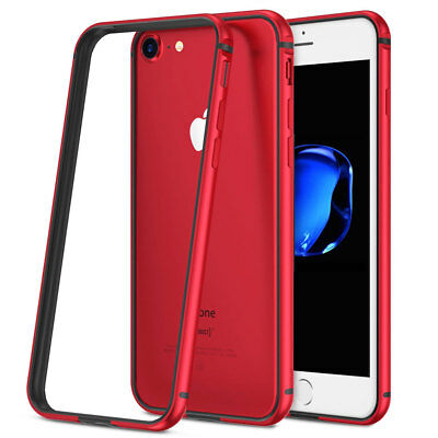 Hybrid Aluminum Metal Bumper Shockproof Silicone Case Cover for iPhone X 8 Plus