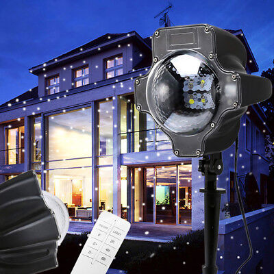 UK Snow Falling LED Projector Light Christmas Snowflakes Night Lamp Party Decor