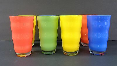 Dramatic Italian Opaque 12 Oz. Beverage Glasses Wave Design Set Of 8