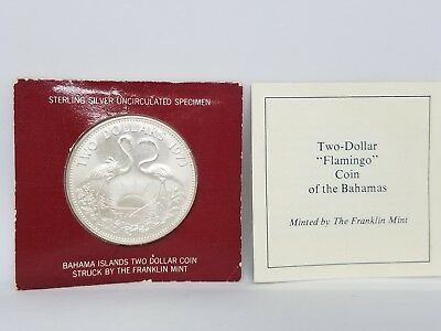 """1973 Silver 2 Dollar Bahama Islands """"Flamingo"""" Coin See Pictures 916"""