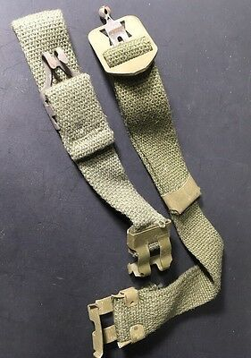 RARE! 1 Original USED Early Vietnam War US M1 Helmet ChinStrap Set w/GREEN Metal