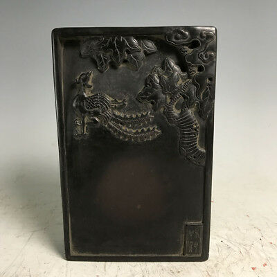 210 Chinese Old Ink Stone-Lucky Phoenix 端石雕刻凤凰老砚台 / L23.5cm x W15cm x T5cm