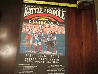 """GERRY LOPEZ / RAINBOW SANDALS  battle of the paddle poster 2011  11"""" X 17"""""""