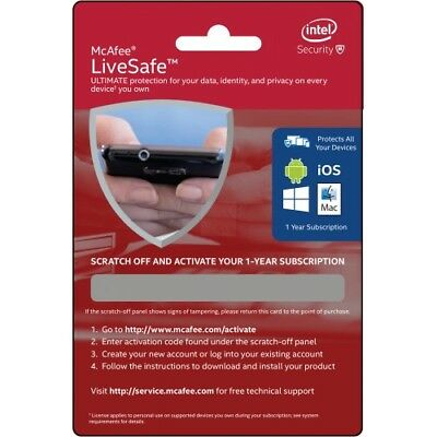 McAfee LiveSafe 2017 | 1 Year | Unlimited Devices Protection PCs Mac Android iOS