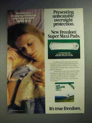 1983 New Freedom Super Maxi Pads Ad - Protection