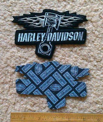 """Harley Davidson embroidered motorcycle engine piston patch > 5"""" x 3"""" > MC motor"""
