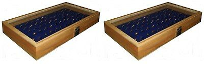 2 Natural Wood Glass Top Lid Blue 72 Ring Jewelry Display Storage Box Cases