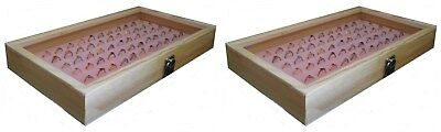 2 Natural Wood Glass Top Lid Pink 72 Ring Jewelry Display Storage Box Cases