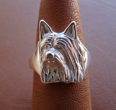 Sterling Silver Silky Terrier Head Study Ring