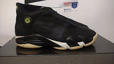 3b215928c9ff76 Nike Air Jordan 14 Retro Indiglo Black White Green Vivid 487471 005 Size 8.5