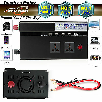 2000W/4000W Peak Car Power Inverter Converter Adapter DC 12V to AC 220V USB Car