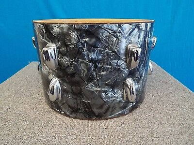 Vintage Slingerland 1964 8 x 12 Black Diamond Pearl Tom Drum w/ Lugs